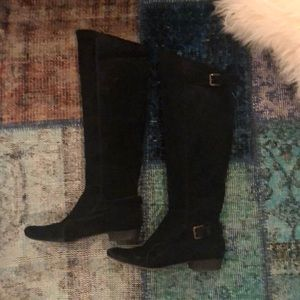 Joie So many roads black suede over the knee boots
